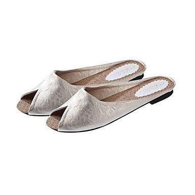 SHOES-XJIH&Donna pantofole & flip-flops Estate Peep toe PU Casual tacco piatto altri Nero / Giallo / Bianco / Oro altri,Giallo,US7.5 / EU38 / UK5.5 / CN38