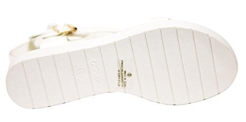 Per Sempre Scarpe Da Donna Open Toee Punta A Punta Aperta Fibbia Doppia Fibbia Cinturino Alla Caviglia Con Fibbia Bianca
