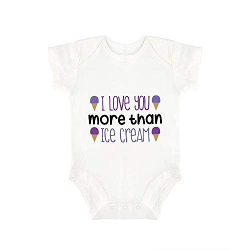 (Promini Cute Baby Onesie I Love You More Than Ice Cream Baby Bodysuit Infant One Piece Baby Romper Best Gift for Baby)