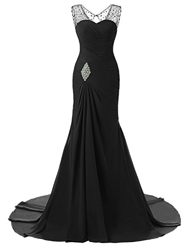 (Lily Wedding Womens Mermaid Prom Bridesmaid Dresses 2018 Long Evening Formal Party Ball Gowns FED003 Black Size18 Plus)