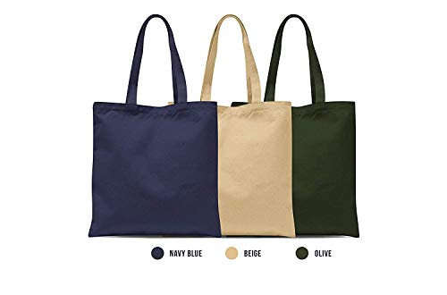- Eco Friendly Reusable Duck Canvas Tote Bag (Set of 3: Navy Blue, Beige, Olive) – 100% Natural Cotton Shoulder Hand Bag For School Work Travel Shopping Beach Grocery Stylish Casual Totes