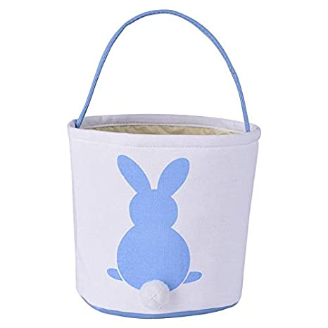 Easter Bunny Basket/ Egg Bags for Kids,Canvas/ Cotton/ Personalized Candy Egg Basket Rabbit/  Print Buckets with Fluffy Tail Gifts Bags for Easter