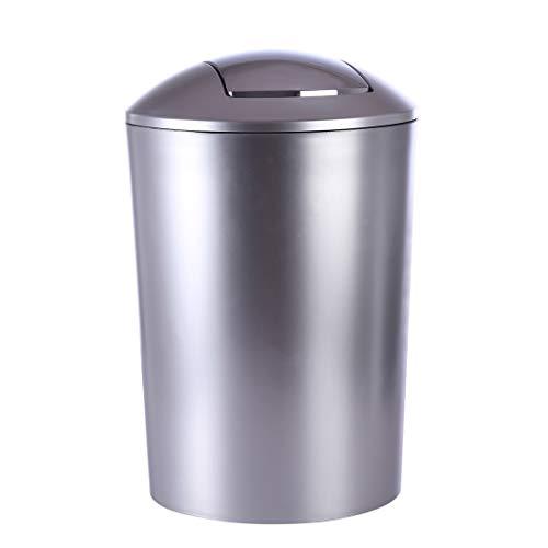 HMANE 6.5L Swing Lid Trash Can,Wastebasket Dustbin Garbage Bin with Swing Top - (Silver)