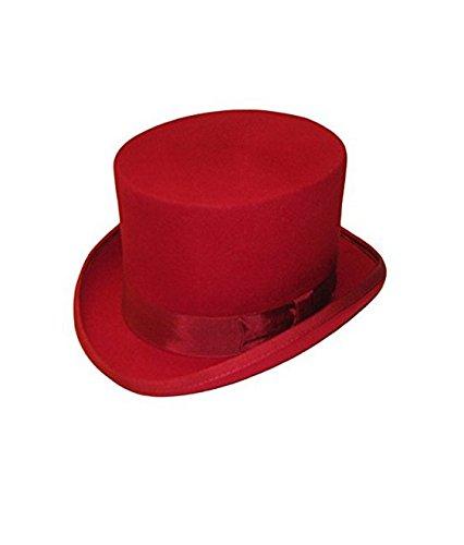 TFXWERWS Novelty Non-woven Fabrics Satin Lined Felt Top Hat (Red)