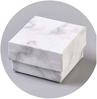 dudifeng 24 Cajas de cartón para Joyas, Caja de Almacenamiento, para Collares, Pulseras, Pendientes, Cuadrados, rectangulares, mármol, Color Blanco, 24 Piezas 52 x 52 x 33 mm, Talla única: Amazon.es: Hogar