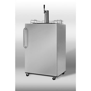 Summit Professional Series SBC490OS 24'' Outdoor Full Keg Beer Dispenser with Automatic Defrost, Covertible to Refrigerator and Included Shelves: Single Tap with Towel Bar Handle