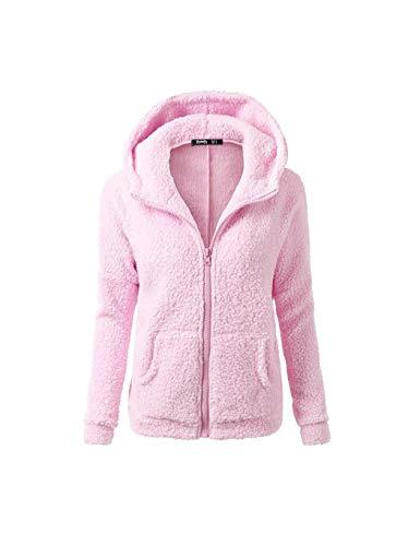 Cappuccio Sisaki Rosa Cappotto Caldo Hooded Cerniera Cotone Outwear Inverno Felpa Donna Chiaro Lana Donne Maglione Con wU6qFExpU