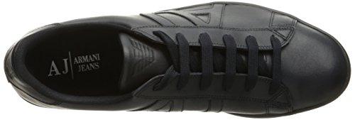 ARMANI JEANS Mens Action Leather Fashion Sneaker Blue 4CUbvsIA