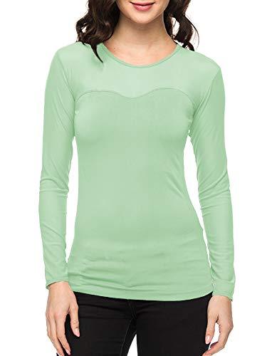 - Ekimo T-USA Women Seamless Sheer Long Sleeve Mesh Top Sweetheart Neckline Blouse Tops Shirt (Mint)