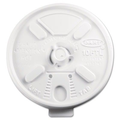 Lift N'' Lock Plastic Hot Cup Lids Fits 10-oz Cups in White