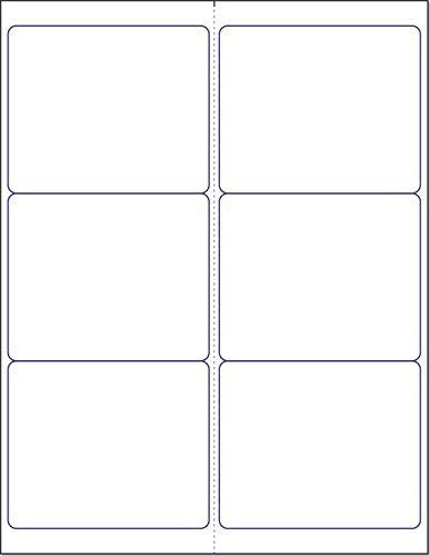 "Blank White Permanent Adhesive Labels for Laser/Ink Jet Printer (4"" x 3-1/3"" - 6 Per Page 