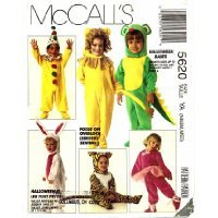 McCall's 5620 Sewing Pattern Infant to Size 4 Costume Lion, Clown, Bunny, Dragon, Ballerina, Mouse, (Clown Costume Patterns)