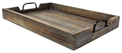 Large 14x20 Decorative Vintage Wood Serving Tray For Coffee Table or Ottoman - Rustic Wooden Breakfast Trays For Kitchen, Dining Room, or Living Room - Farmhouse Platter w/Handles - Barnwood