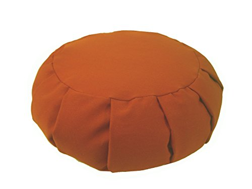 SWEET POTATO - Round Pleated Zafu Meditation Cushion - Yoga - Organic 10oz Cotton - Organic Buckwheat Fill - Made in USA