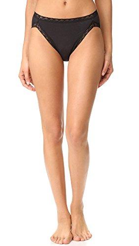 Natori Women's Bliss Cotton French Cut Panty, Black, Large