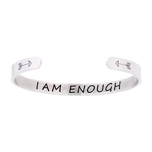 Sayings Jewelry - HIIXHC Inspirational Gifts Women Cuff Bracelet Bangle Stainless Steel EngravedJewelry Gifts with Sayings & Words for Women, Teen Girls (1-pcs i am Enough)