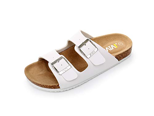 641275c3f321 WTW Women s Arizona Flat 2 Strap Cork Sandals Soft Suede Footbed Slides (US  11