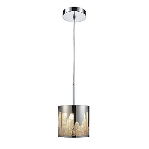 Alumbrada Collection Skyline 1 Light Pendant In Polished Stainless