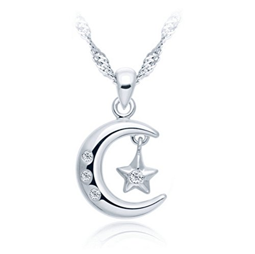 Victoria Echo Women Sterling Silver Cubic Zirconia Moon and Star Pendant Necklace (Alien Princess Costume)