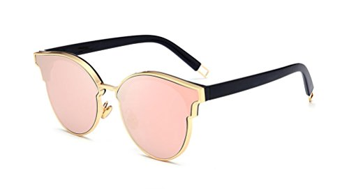 GAMT Cat Eye Sunglasses Round Designer Oversized Reflective Mirrored Flat Lenses for Women Rose - Gold Rose Reflective Sunglasses