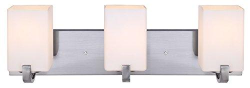 New 3 Light Bathroom Vanity Lighting Fixture Brushed: Canarm IVL422A03BN Palmer 3-Light Bath Vanity, Brushed