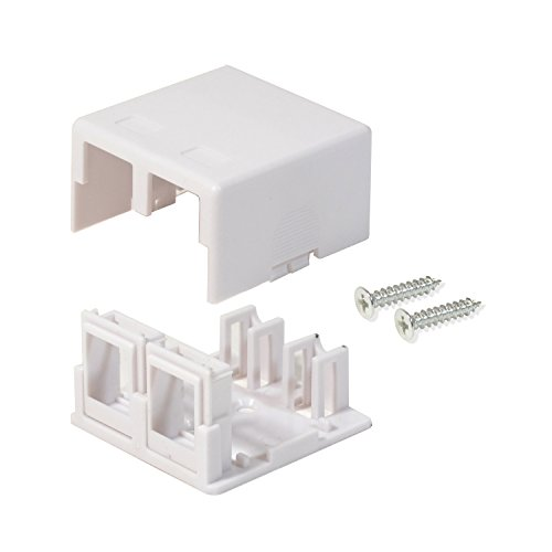(LOGICO 50 Pack CAT5E/CAT6 2 Port Keystone Jack Surface Mount Box White W/MOUNTING Screws & Double Sided Tape )