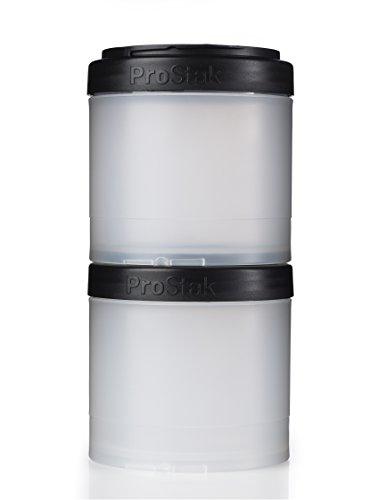 (BlenderBottle ProStak Twist n' Lock Storage Jars Expansion 2-Pak with Pill Tray, Clear/Black)