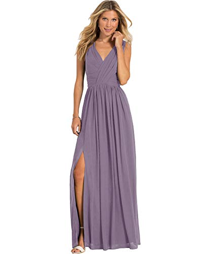 Yilis Women's V Neck A Line Slit Pleated Chiffon Bridesmaid Dress Long Wedding Evening Prom Gown Wisteria US4 -