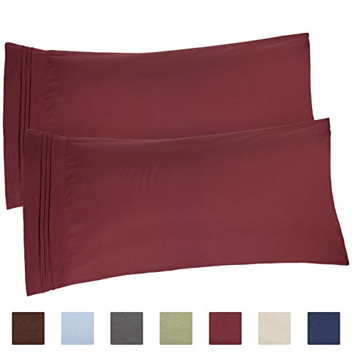 CGK Unlimited Burgundy Pillow Cases - King Size Set of 2 - Soft and Comfortable - Fits 20x40 20x36 20x48 - Two Pack - Pillow Cover Insert