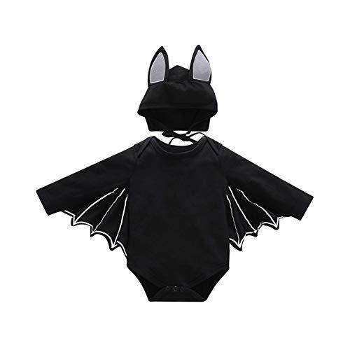 Yiwa 2PCS/Set Unisex Baby Halloween Cosplay Costume Bat Design Long-Sleeve Rompers + Hat Black 90cm -