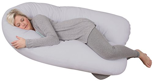 Leachco Back 'N Belly Bliss with 100% Sateen Cotton, 300 Thread Count Zippered Cover in Peaceful Gray