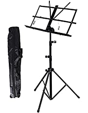 Music Stand Metal Folding Music Stand - Portable Sheet Music Stand with Carrying Bag Adjustable Music Holder for Books Notes Laptop Tablet, Black Book Stand