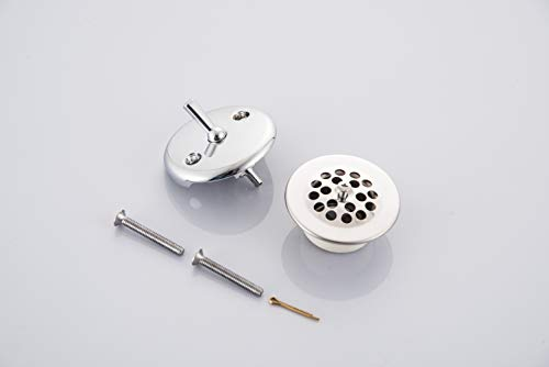 SIIKEYE Tub Drain with Bathtub Strainer, Cover, Trip Lever Overflow Face Plate and Screw