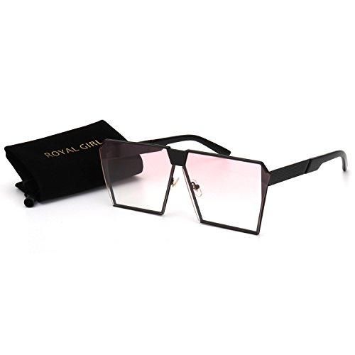 ROYAL GIRL Classic Square Women Sunglasses Retro Oversize Metal Frame Flat Top Sun Glasses (Black Frame Light Pink, - Cute Shades
