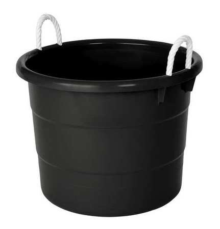 (Storage Tub w/ Rope Handles, 18 Gal, Black)