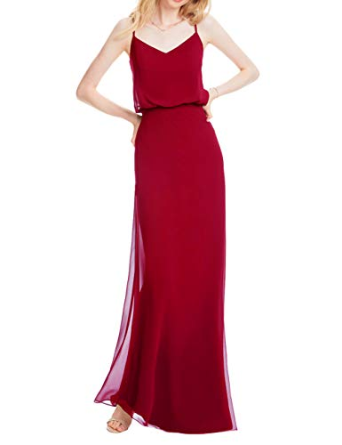 (Cdress Wedding Bridesmaid Dress Long Chiffon Prom Evening Gown Party Dress Spaghetti Straps Flowy Wine Red US 26W)