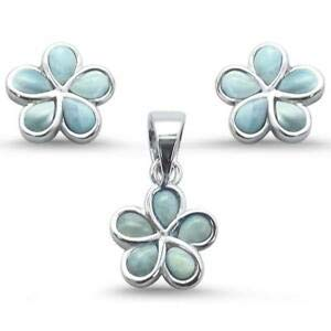 Plumeria Flower Natural Larimar 925 Sterling Silver Earring Pendant Set - Jewelry Accessories Key Chain Bracelet Necklace Pendants ()