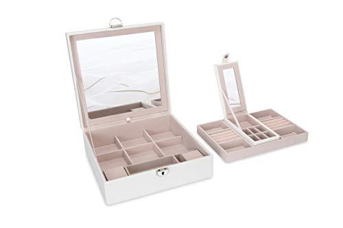 Square Jewelry Box Organizer For Women Large 2 Layer Jewelry Storage Holder Premium Gift For Girls (White)