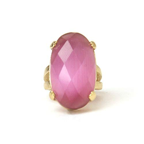 Rivka Friedman 18K Gold Clad Oval Faceted Cat's Eye Raspberry Satin Ring (9)
