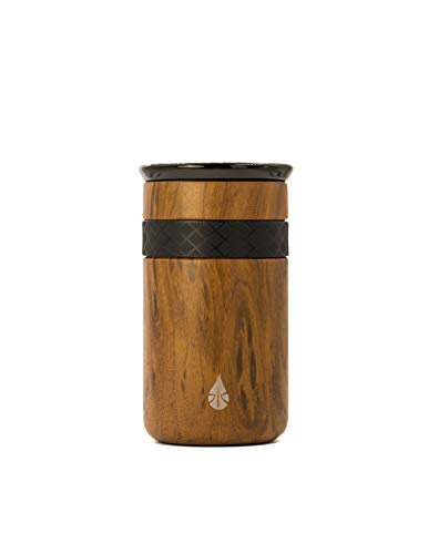 Elemental Tumbler 18/8 Stainless Steel Triple Wall Copper Insulation With Spill Resistant Ceramic Lid (Wood, 12oz)