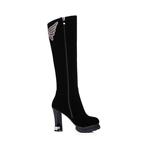 Allhqfashion Women's Xi Shi Velvet Frosted High-Heels Boots with Rough Heels Black 4vzuhx