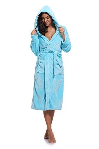 (Luvrobes Women's Plush Fleece Hooded Robe Ultra-Soft Long Bathrobe (S/M,SkyBlue))