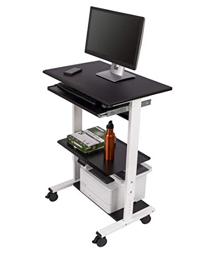 Steel Adjustable Height Workstation - Mobile Adjustable Height Stand Up Workstation (White & Black)