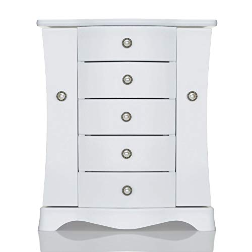 Jewelry Box - Made of Solid Wood with 4 Drawers Organizer and Built-in Necklace Carousel and Large Mirror White