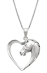 "Sterling Silver Horse in Heart Necklace Pendant with 18"" Box Chain"