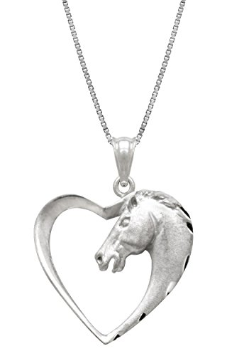 Pendent Horse (Sterling Silver Horse in Heart Necklace Pendant with 18