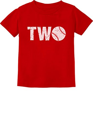 TeeStars - 2nd Birthday Gift for Two Year Old Baseball Toddler Kids T-Shirt 3T Red