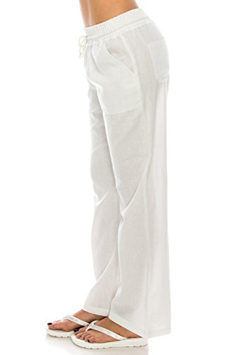 Poplooks Women's Beachside Soft Palazzo Style Linen Pants (Large, White) by Poplooks (Image #2)