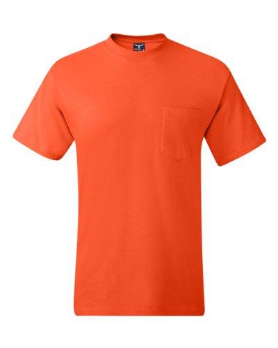 Hanes Short Sleeve Beefy Pocket T-Shirt - 5190, Orange, (Chest Pocket Cotton T-shirt)
