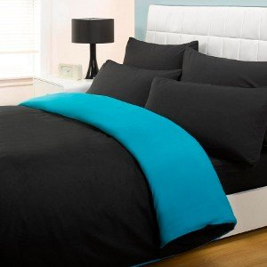 6pc Complete Reversible Black Teal Double Duvet Cover